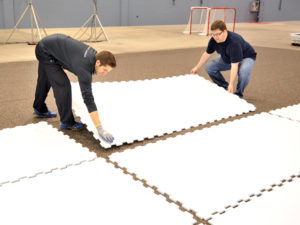 Installing Hockeyshot synthetic ice tiles - Extreme Glide 4x8