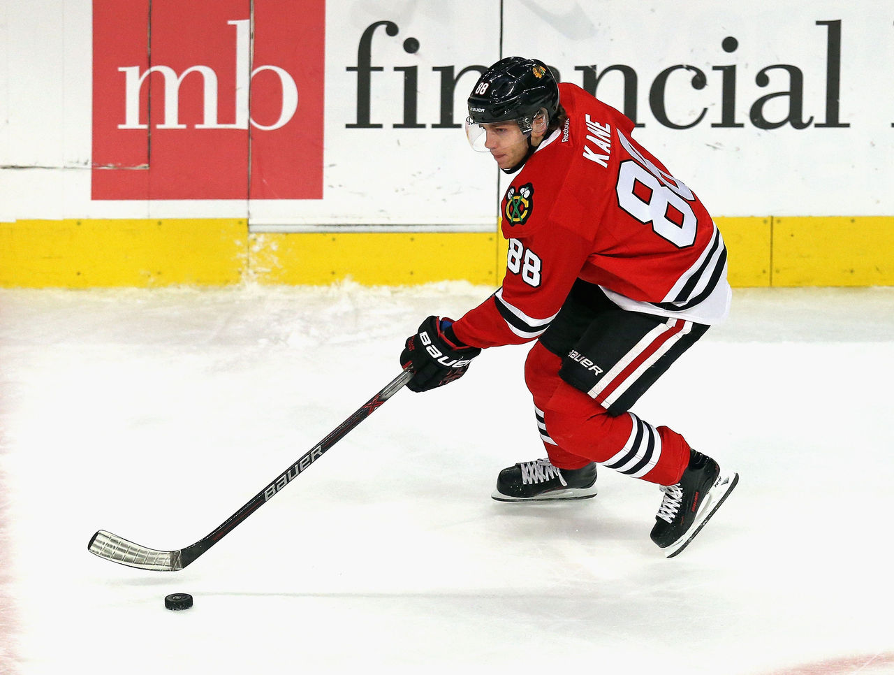 Patrick Kane showing skills he developed with the help of hockey stickhandling training tools