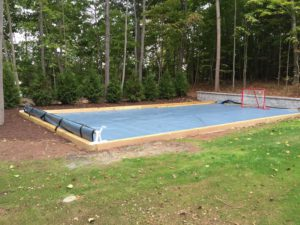 Backyard rink made with synthetic tiles