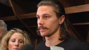 Erik Karlsson sports a modern hockey player mustache