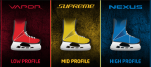 Profile outline of Bauer's hockey skate lines illustrates different fits of Bauer hockey equipment