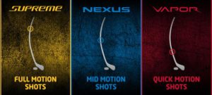 Different kick points in Bauer sticks show variety in Bauer hockey equipment