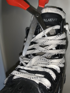 Cutting a teammate's laces is considered one of the great hockey pranks