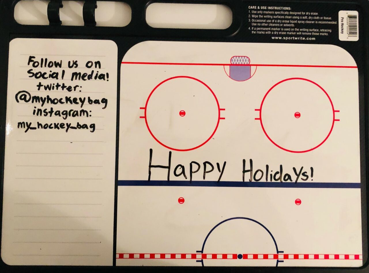 This dry-erase board is one of my recommended hockey-related gifts this holiday season